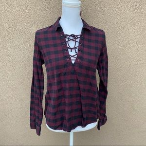 Forever 21 plaid lace up long sleeve blouse top S